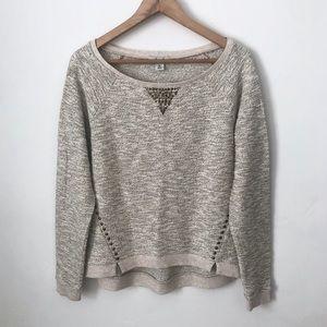 Lucky Brand Lucky Lotus Beige Studded Sweater